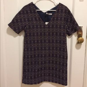 NWT Mango Textured V-Neck Shift Dress